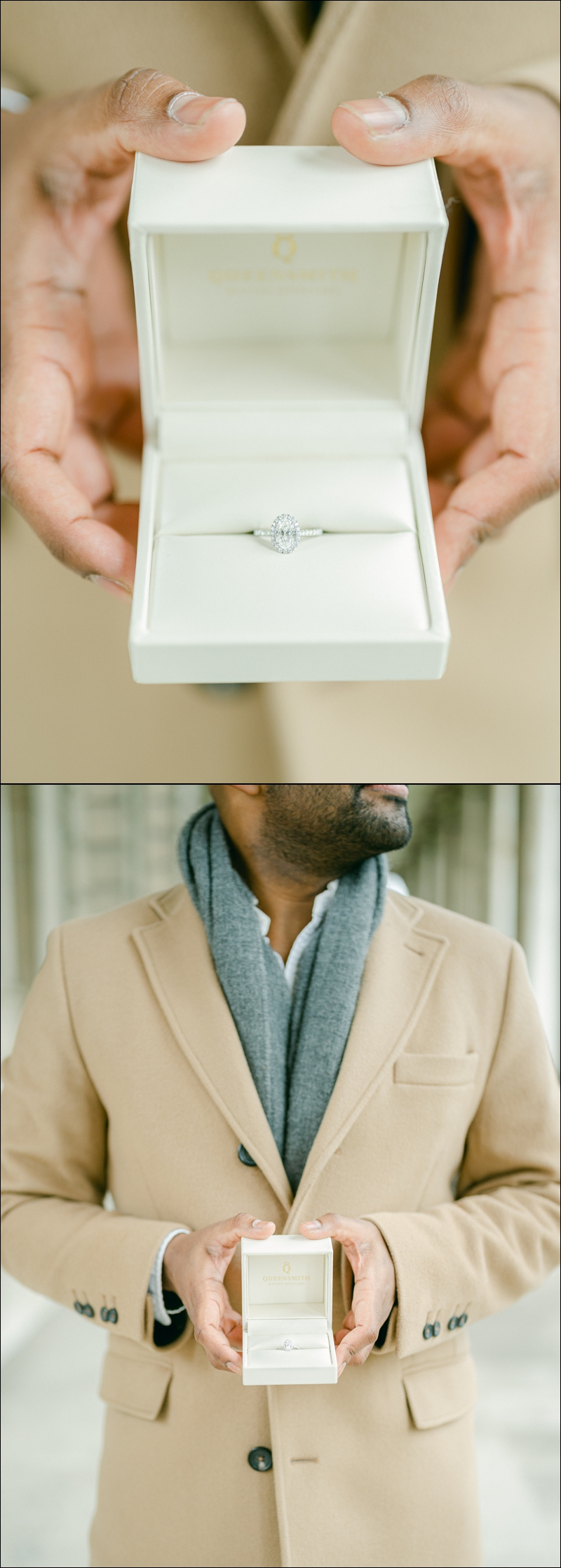 The engagement ring ahead of a London Surprise proposal